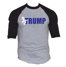 Men's Fcuk Trump Gray Baseball Raglan T Shirt Anti President Protest Tee V222