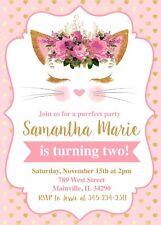 Cat, Kitten, Kitty, Pink, Gold, Birthday Party Invitation, Invitation