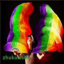 1 Pair 100% Silk belly dance fan veil Red/orange/yellow/green/purple (1.5m 1.8m)