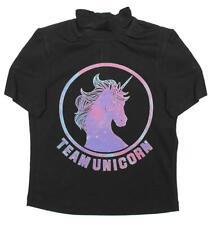 Girls T-Shirt Team Unicorn Tee High Neck Cycle Style Zip Top Teens 6 to 16 Years