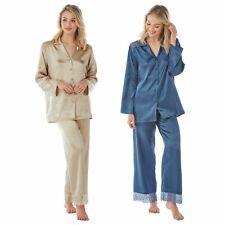 Womens/Ladies Long Sleeve Satin Pyjamas Pyjama PJ Nightwear Set Sea Blue/Oyster