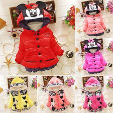 Baby Kinder Mädchen Cartoon Minnie Mantel Kapuze Gefütterte Jacke Schneeanzug