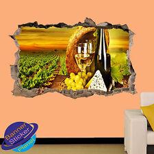 VINEYARD VINE CHEESE VIEW 3D SMASHED WALL STICKER ART ROOM DECOR DECAL MURAL ZP4