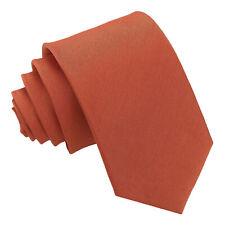 DQT New Solid Plain Shantung Rust Mens Slim Tie Pocket Square Cufflinks