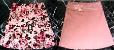ANTHROPOLOGIE ODILLE Pink ROSE Floral VELVET RIBBON Detail A-Line SKIRT 10