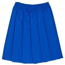 GIRLS ROYAL BLUE BOX PLEAT ALL ROUND ELASTICATED SCHOOL SKIRT