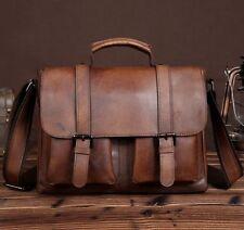 New Men's Vintage Brown Genuine Leather Briefcase Messenger Bags Shoulder Bag