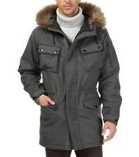 $498 New Nautica Granite Heather Wool Blend Fur Hood Parka Jacket Coat L
