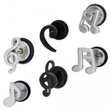 Ohrstecker Ohrringe Fake Plugs Plug Noten Notenschlüssel Musik silber schwarz