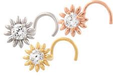 750 ECHT GOLD ☺ Spirale Nasenpiercing Piercing Nasenstecker Blume Sonnenblume