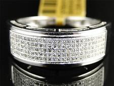 White Gold Finish Mens Ladies White Diamond 7.5 mm Wedding band Ring 1/2 Ct