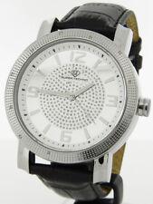 Super Techno I-5465 Men's Diamond Silver-tone Case Black Leather Band Watch