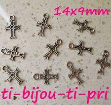 LOT de 14 PENDENTIFS perles breloques CROIX CROSS 14 x 9mm ARGENTES fonçé bijoux