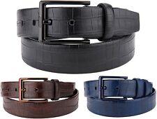 New Men's Croc Textured Dress Casual Leather Belt Black Blue Brown Brass Buckle