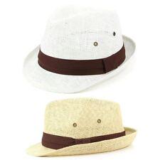 Trilby Hat Straw Fedora Cap Mens Unisex Brim Travel Hawkins BAND Grosgrain