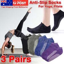 3 Pairs Women Sports Pilates Cotton Yoga Non-Slip Grip Socks Gym Exercise EU