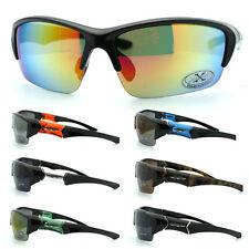 X Loop Mens Baseball Half Rim Sport Warp Shatter Proof Plastic Light Sunglasses