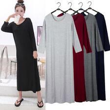Ladies Long Sleeve Modal Dress Crew Neck Loose Underdress Sleepwear Nightdress