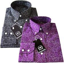 Relco Men's Long Sleeve Cotton Button Down Black Purple Paisley Floral Shirt