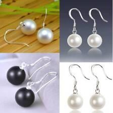 925 Sterling Silver Pierced Faux,Imitation Pearl Round Stud Earrings