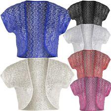 New Ladies Plus Size Lace Crochet Shrugs Sequin Design Bolero Tops 12-22