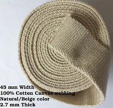 Beige/colore naturale 45mm tela cotone RAINFORCE Nastro Tessitura Cintura Borsa x 1 Iarda