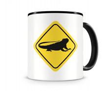 Leguan Warnschild Tasse Kaffeetasse Teetasse Kaffeepott Kaffeebecher Becher