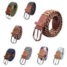 Men Elastic Stretch Woven Canvas Leather Pin Buckle Waist Belt Navy E6A4@F1K5