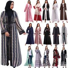 Abaya Women Muslim Open Cardigan Jilbab Cocktail Maxi Kaftan Islamic Arab Robe