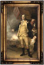 Peale George Washington at Battle of Princeton Wood Framed Canvas Repro 12x20