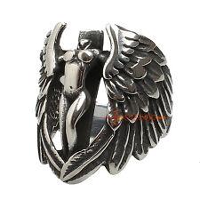Stainless Steel Vintage Silver Wing Naked Angel Cross Biker Rockstar Men's Ring
