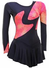 Skating Dress -BLACK LYCRA / PEACH MULTI HOLOGRAM L/S ALLSIZES INTERGRATE (S102)