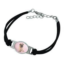Novelty Suede Leather Metal Bracelet Pug Puppy Dog Sitting Pink Necklace