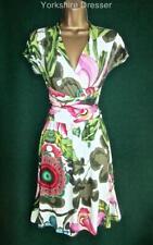New DESIGUAL Cream Floral DANIEL Fit'N'Flare Stretch Jersey DRESS Uk 10 12 14 16