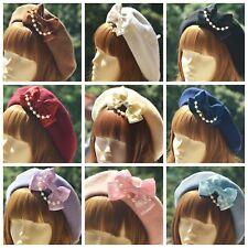 Elegant Womens Lolita Pearl Bow Wool Beret Hat Sailor Artist Painter Cap Gifts