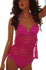 Hula Honey Womens Tankini 2 Piece Bathing Swim Suit Pink Purple XS Small Lg NEW