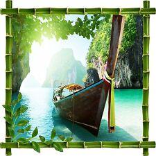 Sticker mural déco bambou Barque réf 5216