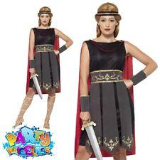 Ladies Roman Warrior Costume Spartan Gladiator Womens Fancy Dress Outfit New