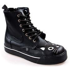 T. T.U.K A6570 Tuk 7 Holes Lace-Up Shoes Black Cat Face Zip inside