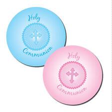 Sainte communion autocollants - 30mm de diamètre, rose ou bleu - 144 par paquet