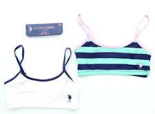 7a50350012 U.S. Polo Assn. Girls 2 Pack Cotton Blend Crop Pullover Training Bras