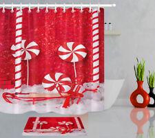 Xmas Sleigh Red Stripes Candy Cane Lollipop Shower Curtain Set Bathroom Decor