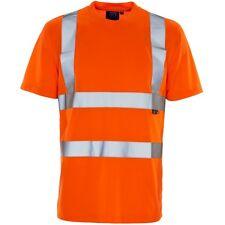 Supertouch Orange Haute Visibilité Homme Travail t tee shirt à manches courtes Bird Eye