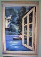 Boat Fishing on the Lake Window Wallpaper Mural 8312