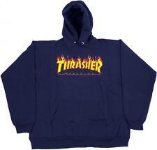 Thrasher Magazine FIAMMA Logo Felpa Con Cappuccio-Navy