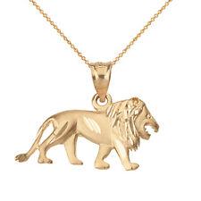 14k Yellow Gold Diamond Cut Walking Lion Leo Zodiac Pendant Necklace