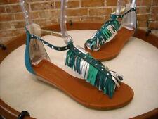 Matt Bernson Teal Green Suede Fringe Mini Wedge Sandals New