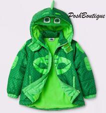 NWT PJ Masks Gekko Boy Girl Puffer Coat Hoodie Costume Jacket Mask 2T 3T 4T 5T