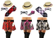 Femmes École Fille Tartan Jupe Austin Lunettes Tartan Longue Cravate boater hat Set