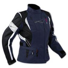Blouson Cordura Tissu Femme Impermeable Protections CE Coudes Epaules Bleu